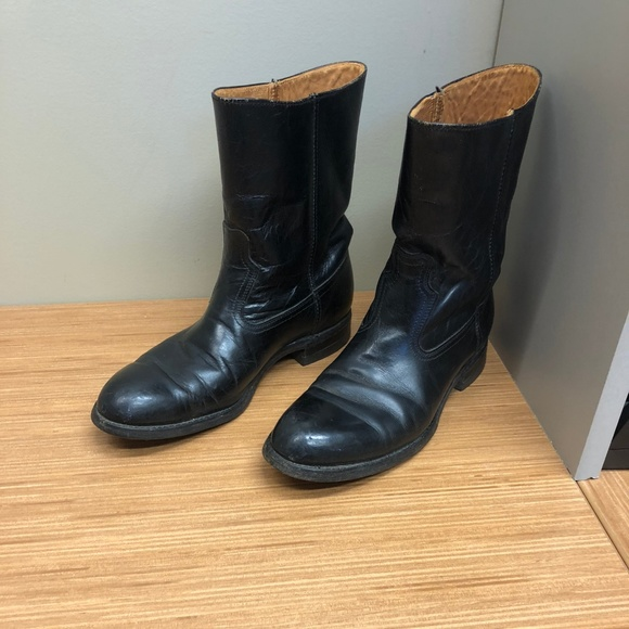 Western Cowboy Black Leather Boots Low